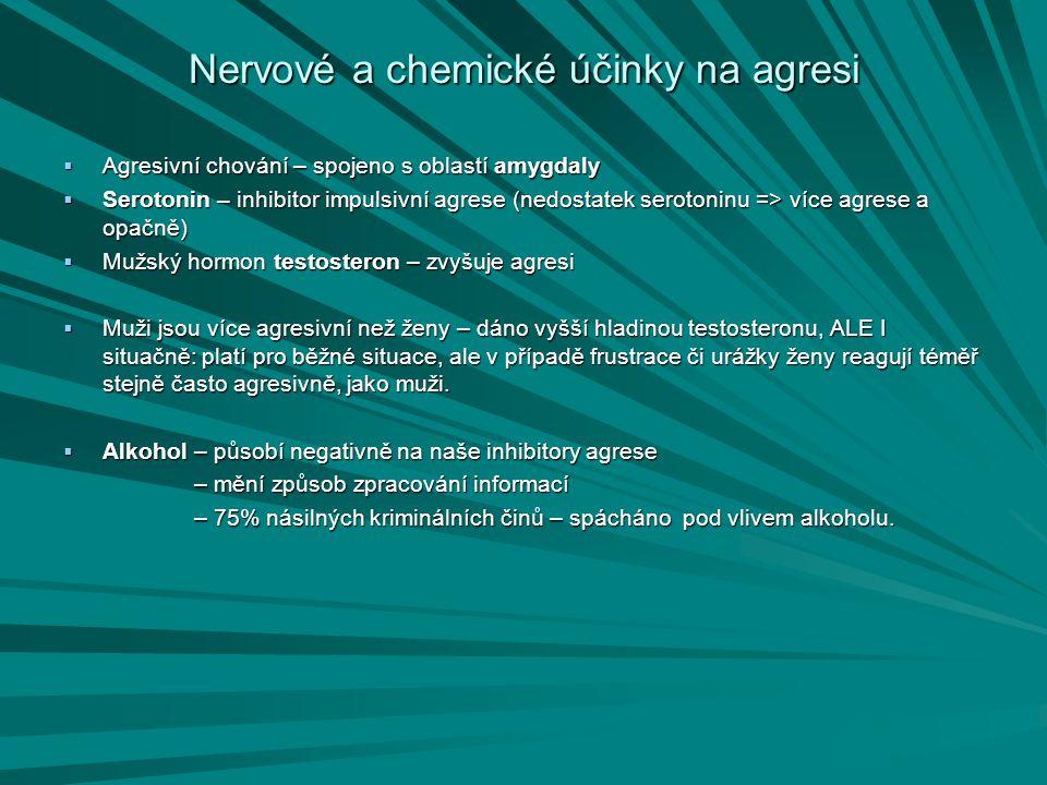Nervové a chemické účinky na agresi  Agresivní chování – spojeno s oblastí amygdaly  Serotonin – inhibitor impulsivní agrese (nedostatek serotoninu