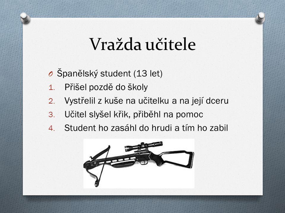 Vražda učitele O Španělský student (13 let) 1. Přišel pozdě do školy 2.