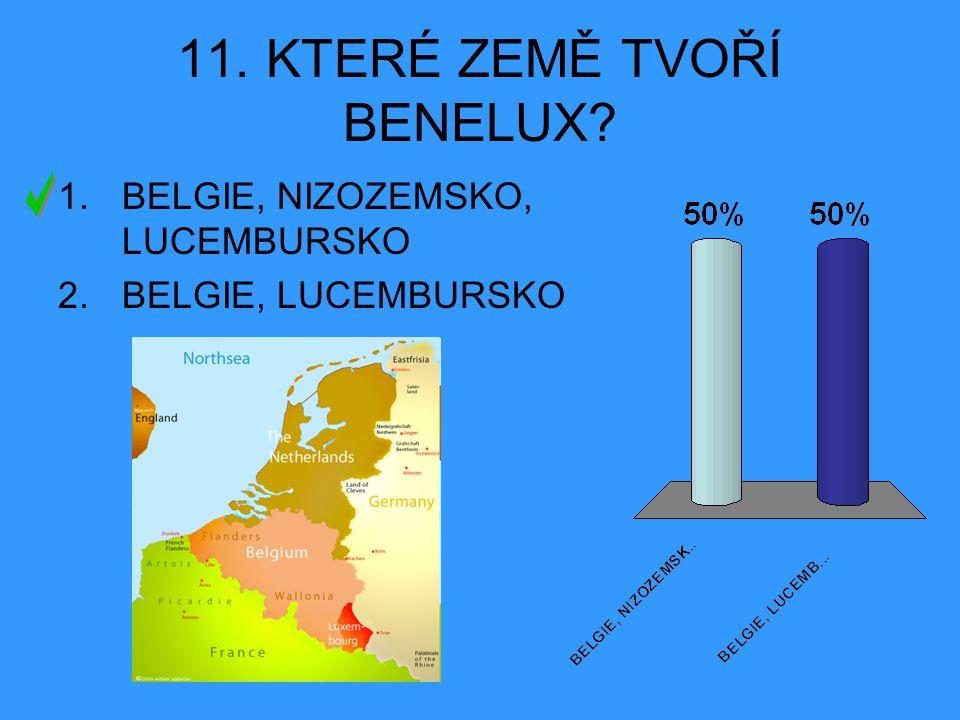 11. KTERÉ ZEMĚ TVOŘÍ BENELUX? 1.BELGIE, NIZOZEMSKO, LUCEMBURSKO 2.BELGIE, LUCEMBURSKO