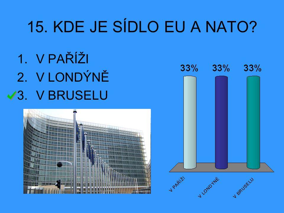 15. KDE JE SÍDLO EU A NATO? 1.V PAŘÍŽI 2.V LONDÝNĚ 3.V BRUSELU