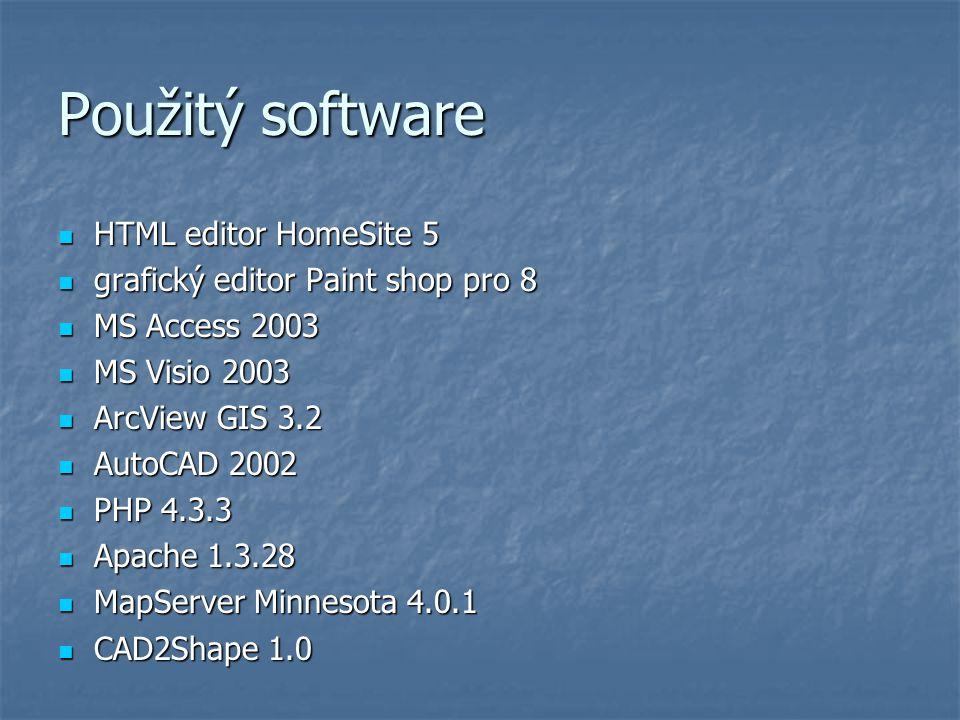Použitý software HTML editor HomeSite 5 HTML editor HomeSite 5 grafický editor Paint shop pro 8 grafický editor Paint shop pro 8 MS Access 2003 MS Acc