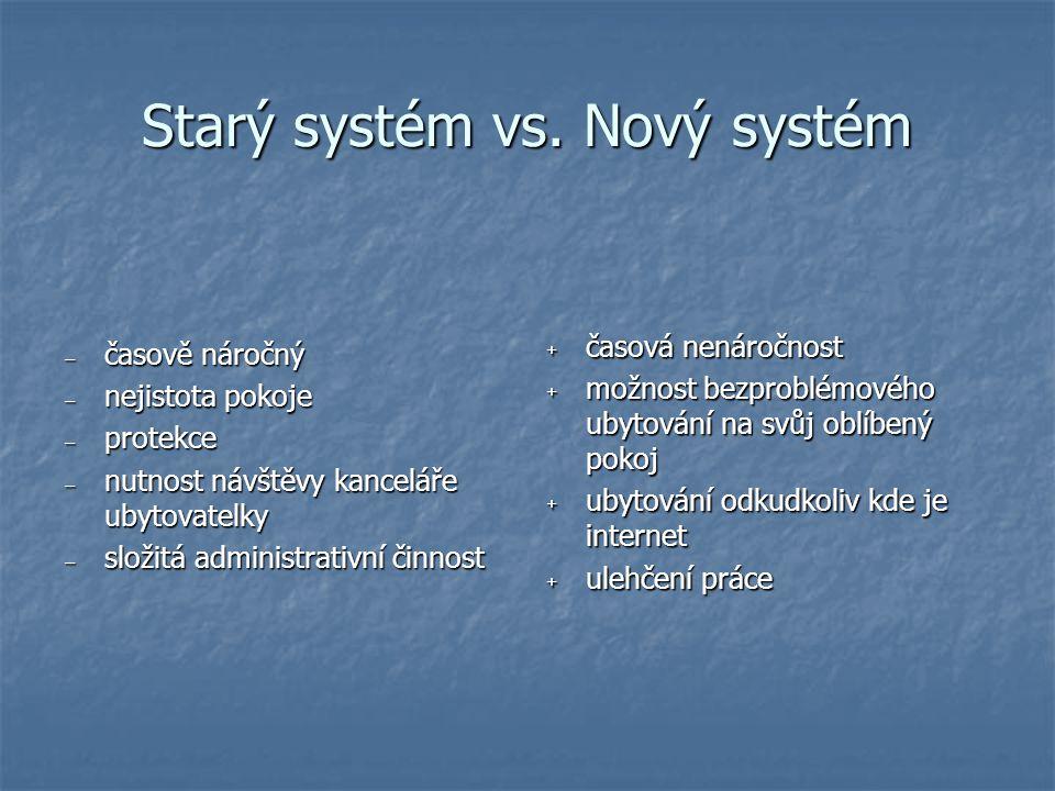 Starý systém vs. Nový systém – časově náročný – nejistota pokoje – protekce – nutnost návštěvy kanceláře ubytovatelky – složitá administrativní činnos