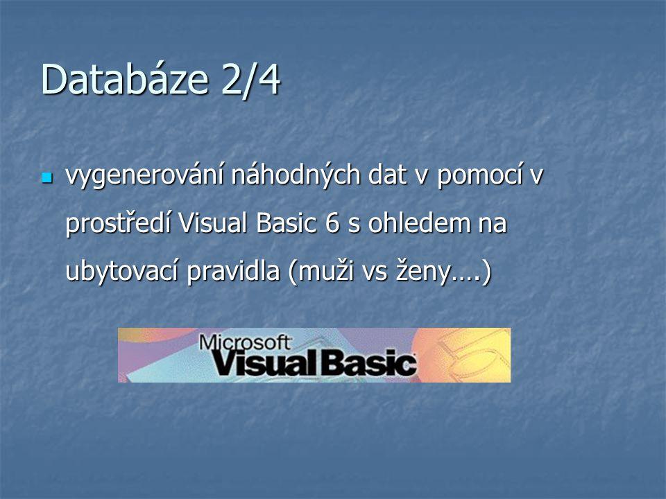 Databáze 2/4 vygenerování náhodných dat v pomocí v prostředí Visual Basic 6 s ohledem na ubytovací pravidla (muži vs ženy….) vygenerování náhodných da