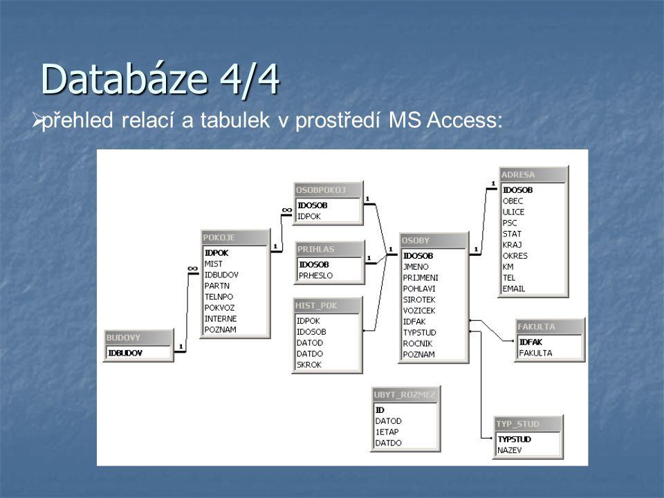 Databáze 4/4  přehled relací a tabulek v prostředí MS Access: