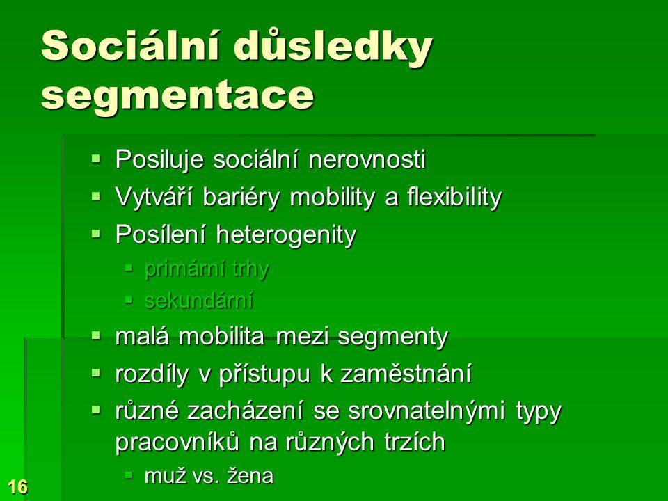 16 Sociální důsledky segmentace  Posiluje sociální nerovnosti  Vytváří bariéry mobility a flexibility  Posílení heterogenity  primární trhy  sekundární  malá mobilita mezi segmenty  rozdíly v přístupu k zaměstnání  různé zacházení se srovnatelnými typy pracovníků na různých trzích  muž vs.
