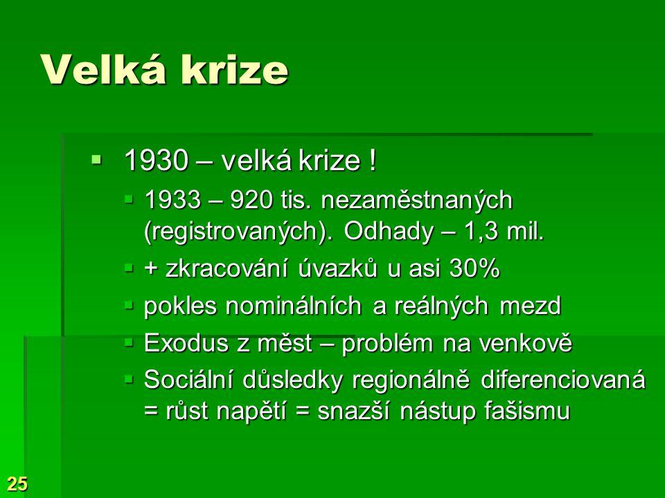 25 Velká krize  1930 – velká krize . 1933 – 920 tis.