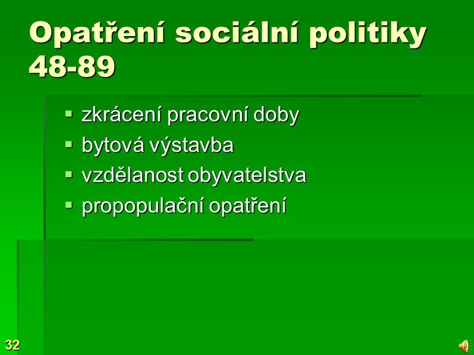 32 Opatření sociální politiky 48-89  zkrácení pracovní doby  bytová výstavba  vzdělanost obyvatelstva  propopulační opatření