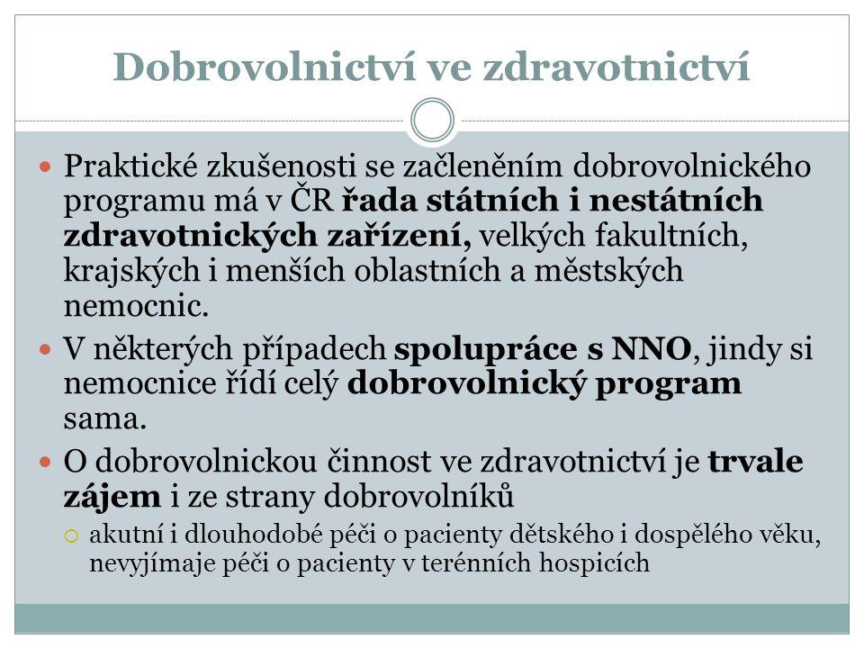 Dobrovolnictví ve zdravotnictví Praktické zkušenosti se začleněním dobrovolnického programu má v ČR řada státních i nestátních zdravotnických zařízení, velkých fakultních, krajských i menších oblastních a městských nemocnic.