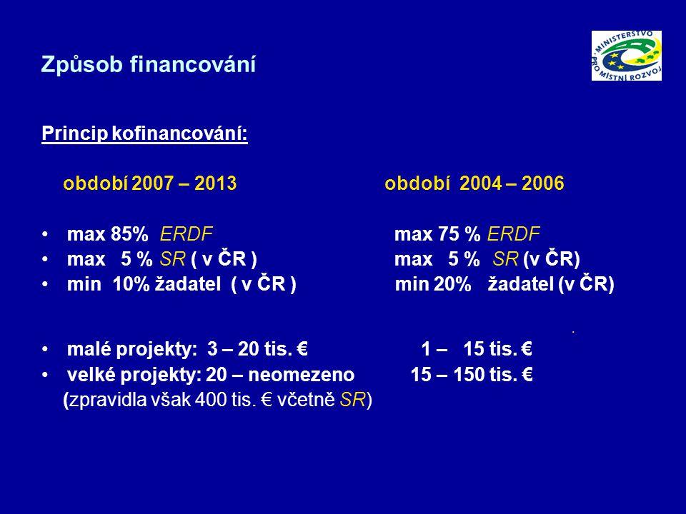 Způsob financování Princip kofinancování: období 2007 – 2013období 2004 – 2006 max 85% ERDF max 75 % ERDF max 5 % SR ( v ČR ) max 5 % SR (v ČR) min 10% žadatel ( v ČR ) min 20% žadatel (v ČR).