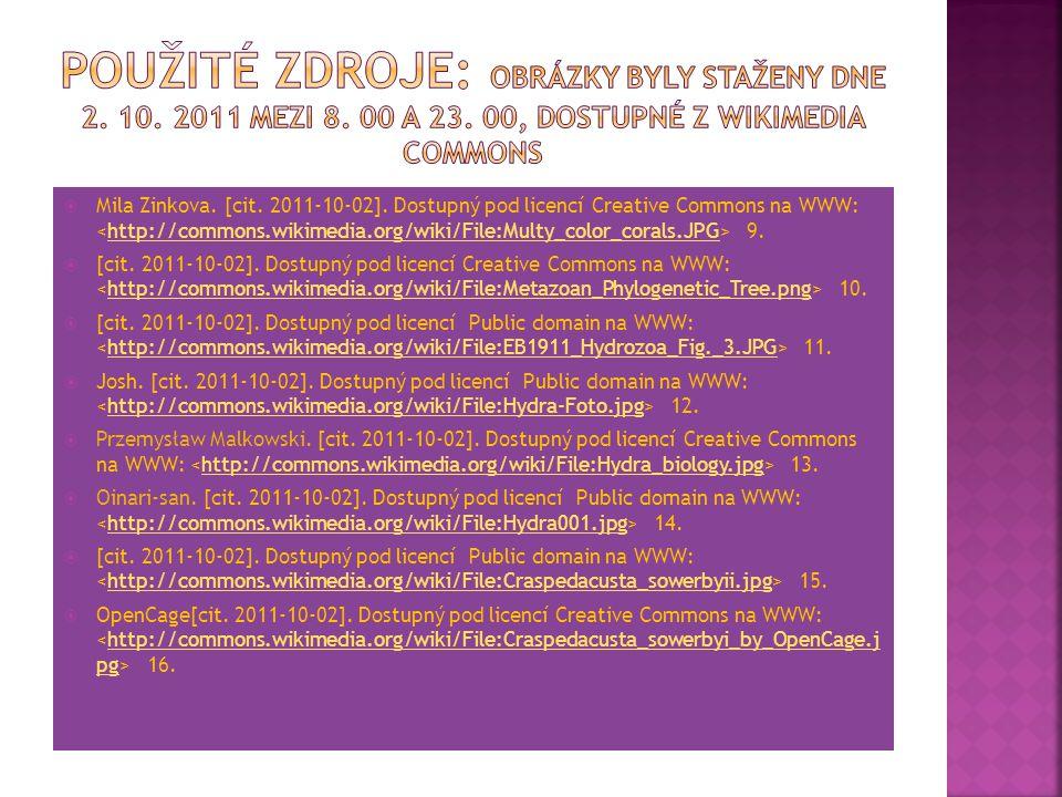  Mila Zinkova. [cit. 2011-10-02]. Dostupný pod licencí Creative Commons na WWW: 9.http://commons.wikimedia.org/wiki/File:Multy_color_corals.JPG  [ci