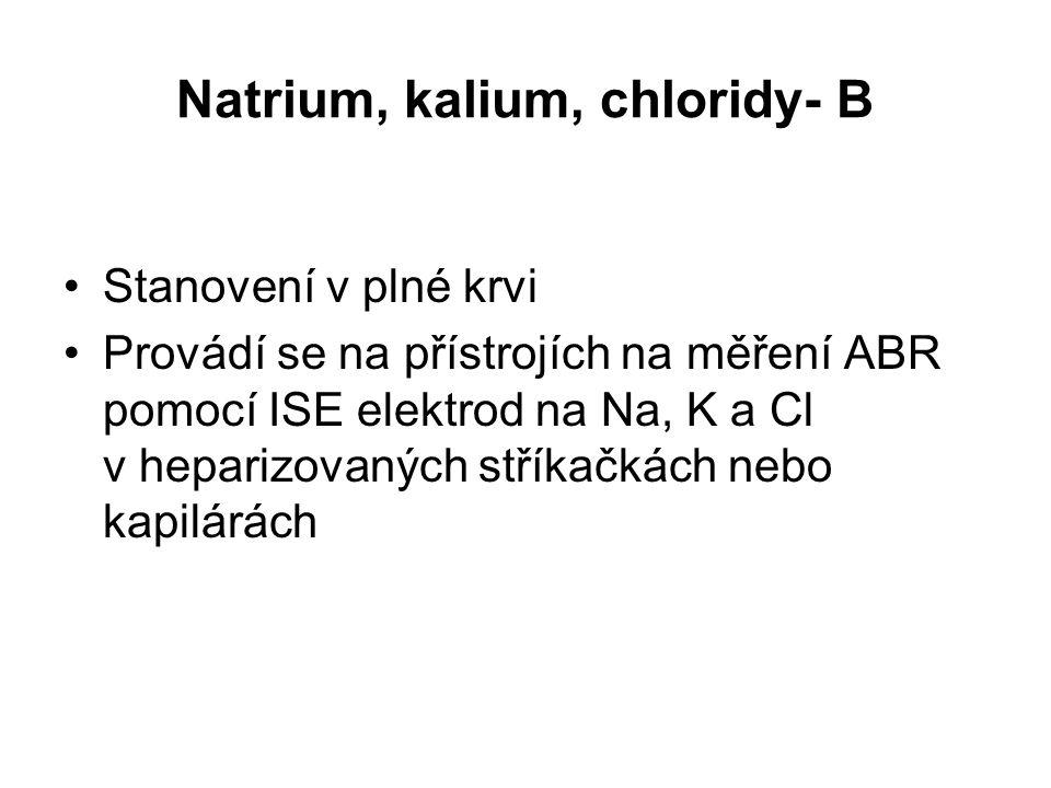 Natrium, kalium, chloridy- B Stanovení v plné krvi Provádí se na přístrojích na měření ABR pomocí ISE elektrod na Na, K a Cl v heparizovaných stříkačk