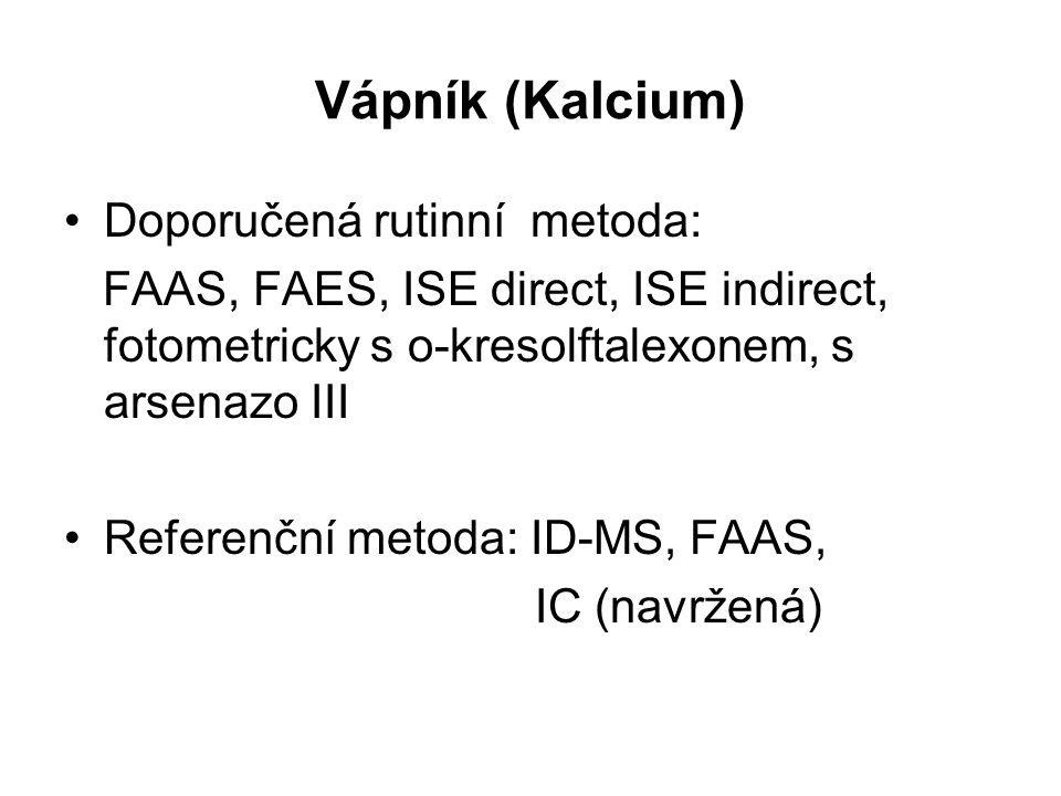 Vápník (Kalcium) Doporučená rutinní metoda: FAAS, FAES, ISE direct, ISE indirect, fotometricky s o-kresolftalexonem, s arsenazo III Referenční metoda:
