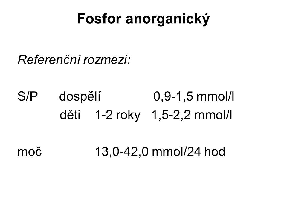 Fosfor anorganický Referenční rozmezí: S/P dospělí 0,9-1,5 mmol/l děti 1-2 roky 1,5-2,2 mmol/l moč 13,0-42,0 mmol/24 hod