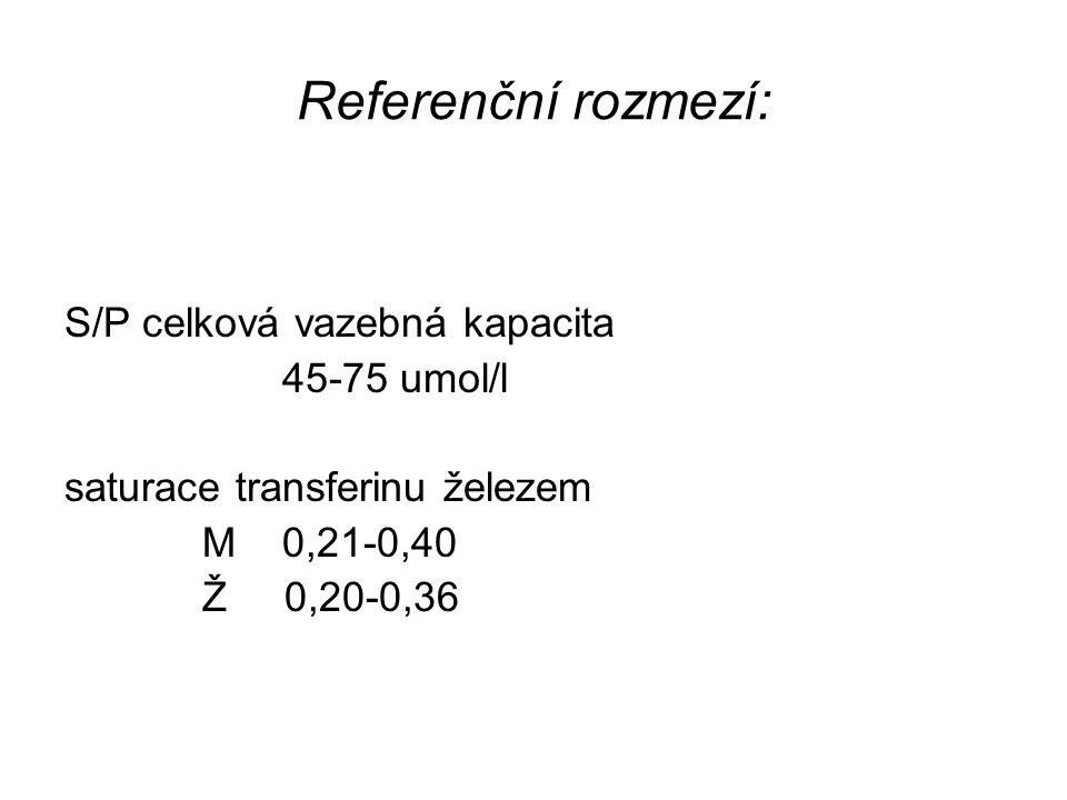 Referenční rozmezí: S/P celková vazebná kapacita 45-75 umol/l saturace transferinu železem M 0,21-0,40 Ž 0,20-0,36
