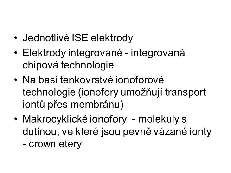 Jednotlivé ISE elektrody Elektrody integrované - integrovaná chipová technologie Na basi tenkovrstvé ionoforové technologie (ionofory umožňují transpo