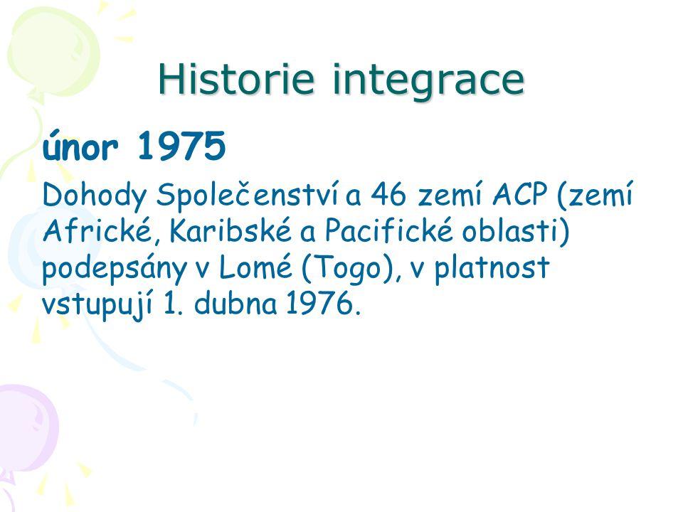 Historie integrace únor 1975 Dohody Společenství a 46 zemí ACP (zemí Africké, Karibské a Pacifické oblasti) podepsány v Lomé (Togo), v platnost vstupují 1.