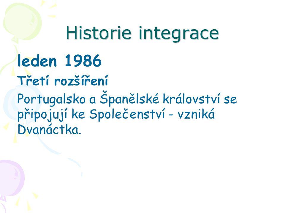Historie integrace leden 1986 Třetí rozšíření Portugalsko a Španělské království se připojují ke Společenství - vzniká Dvanáctka.