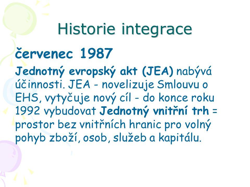 Historie integrace červenec 1987 Jednotný evropský akt (JEA) nabývá účinnosti. JEA - novelizuje Smlouvu o EHS, vytyčuje nový cíl - do konce roku 1992