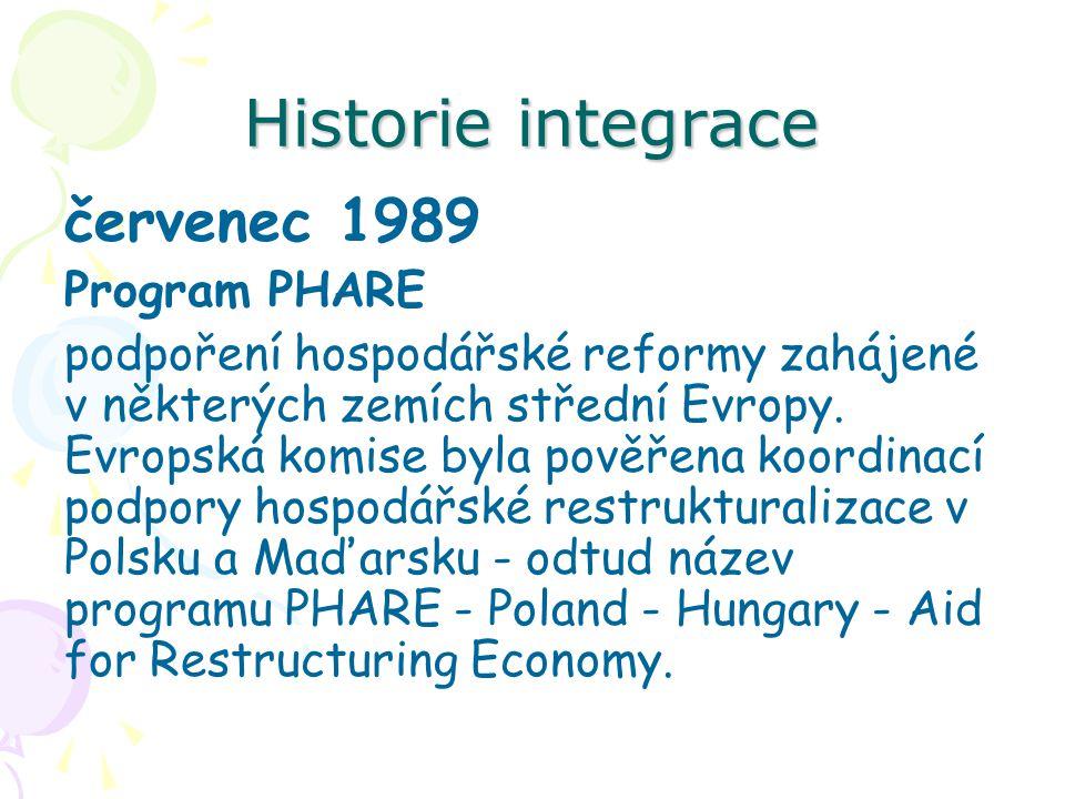 Historie integrace červenec 1989 Program PHARE podpoření hospodářské reformy zahájené v některých zemích střední Evropy. Evropská komise byla pověřena