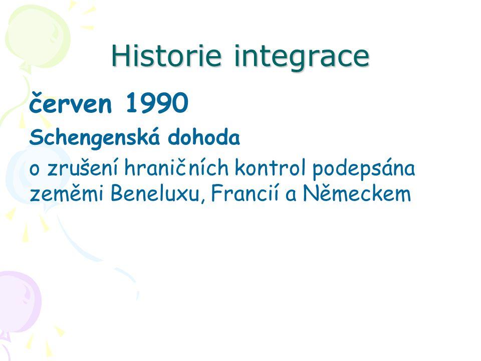 Historie integrace červen 1990 Schengenská dohoda o zrušení hraničních kontrol podepsána zeměmi Beneluxu, Francií a Německem