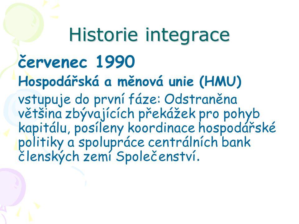 Historie integrace červenec 1990 Hospodářská a měnová unie (HMU) vstupuje do první fáze: Odstraněna většina zbývajících překážek pro pohyb kapitálu, posíleny koordinace hospodářské politiky a spolupráce centrálních bank členských zemí Společenství.