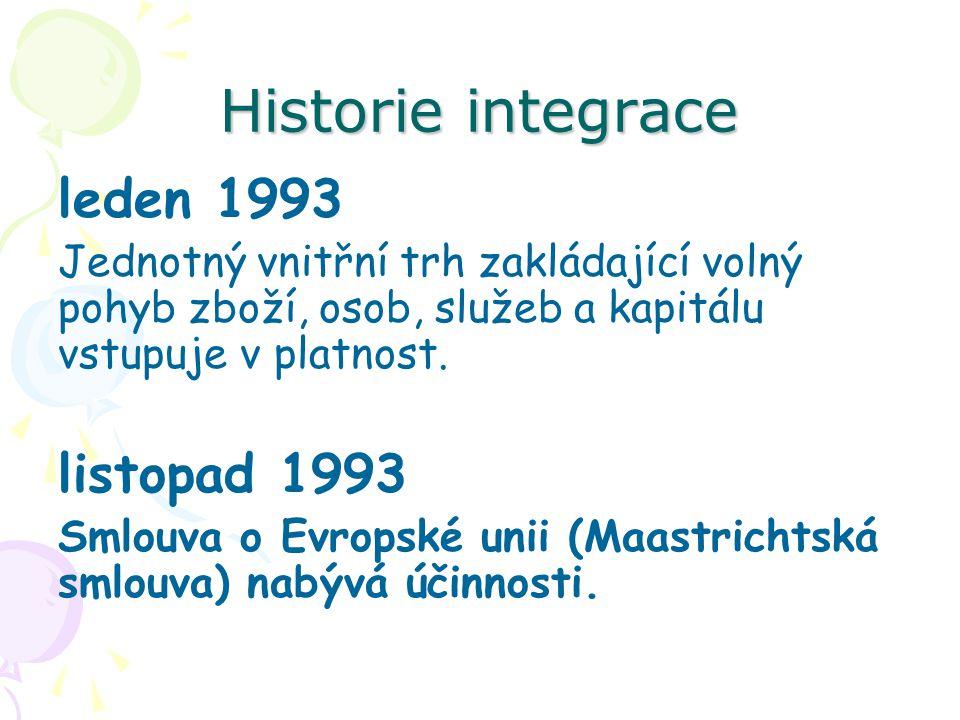 Historie integrace leden 1993 Jednotný vnitřní trh zakládající volný pohyb zboží, osob, služeb a kapitálu vstupuje v platnost. listopad 1993 Smlouva o