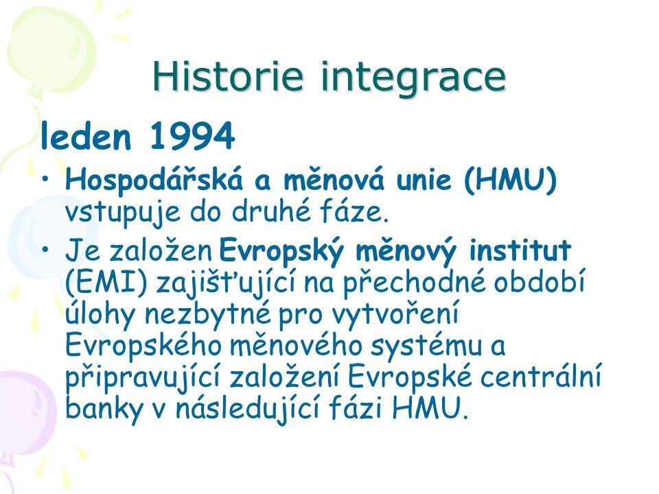 Historie integrace leden 1994 Hospodářská a měnová unie (HMU) vstupuje do druhé fáze.