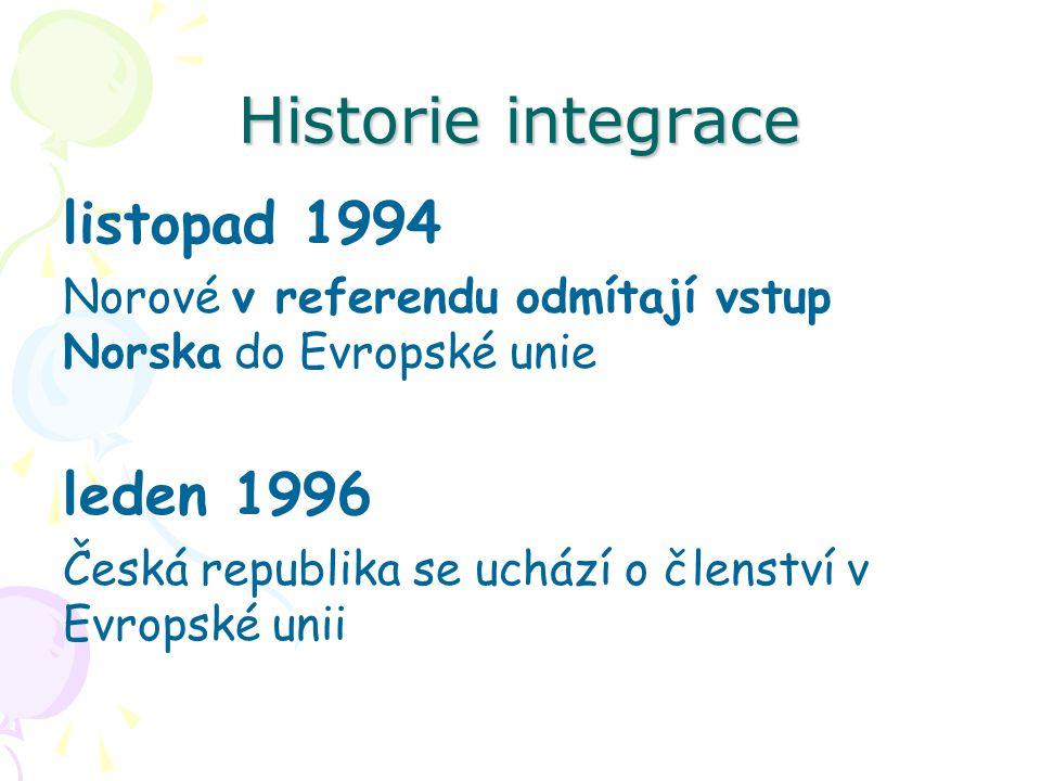 Historie integrace listopad 1994 Norové v referendu odmítají vstup Norska do Evropské unie leden 1996 Česká republika se uchází o členství v Evropské