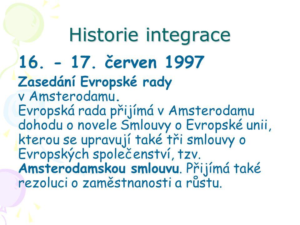 Historie integrace 16. - 17. červen 1997 Zasedání Evropské rady v Amsterodamu. Evropská rada přijímá v Amsterodamu dohodu o novele Smlouvy o Evropské