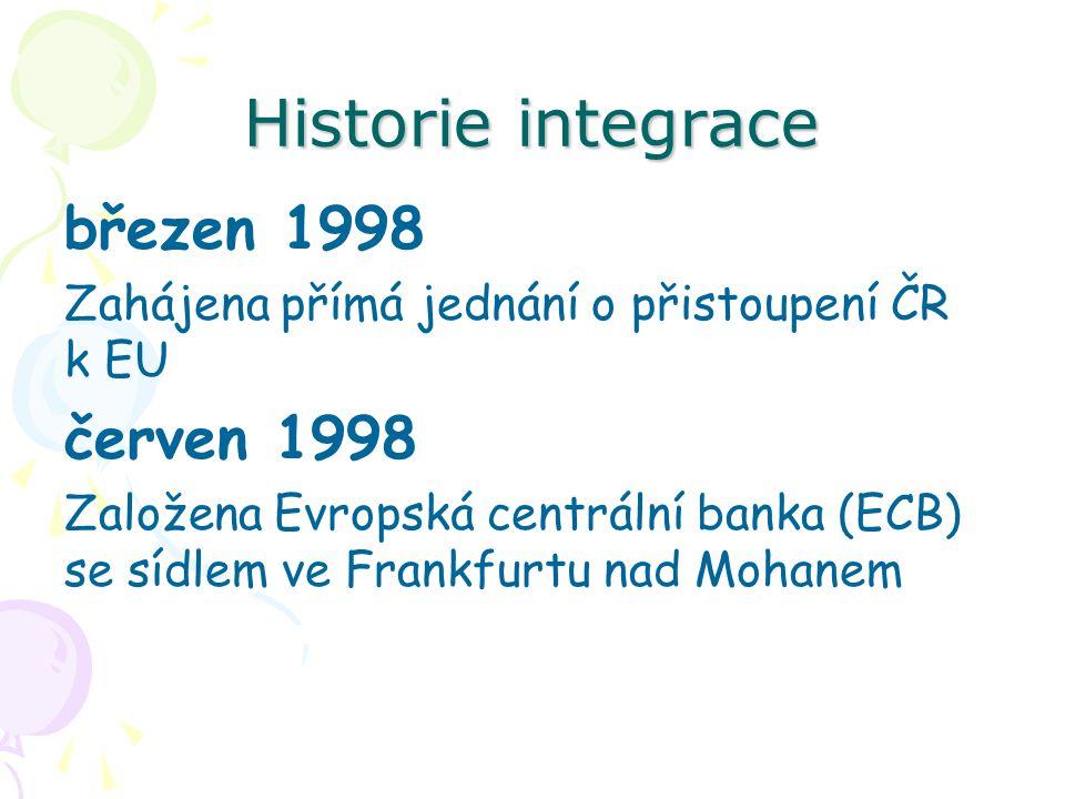 Historie integrace březen 1998 Zahájena přímá jednání o přistoupení ČR k EU červen 1998 Založena Evropská centrální banka (ECB) se sídlem ve Frankfurtu nad Mohanem
