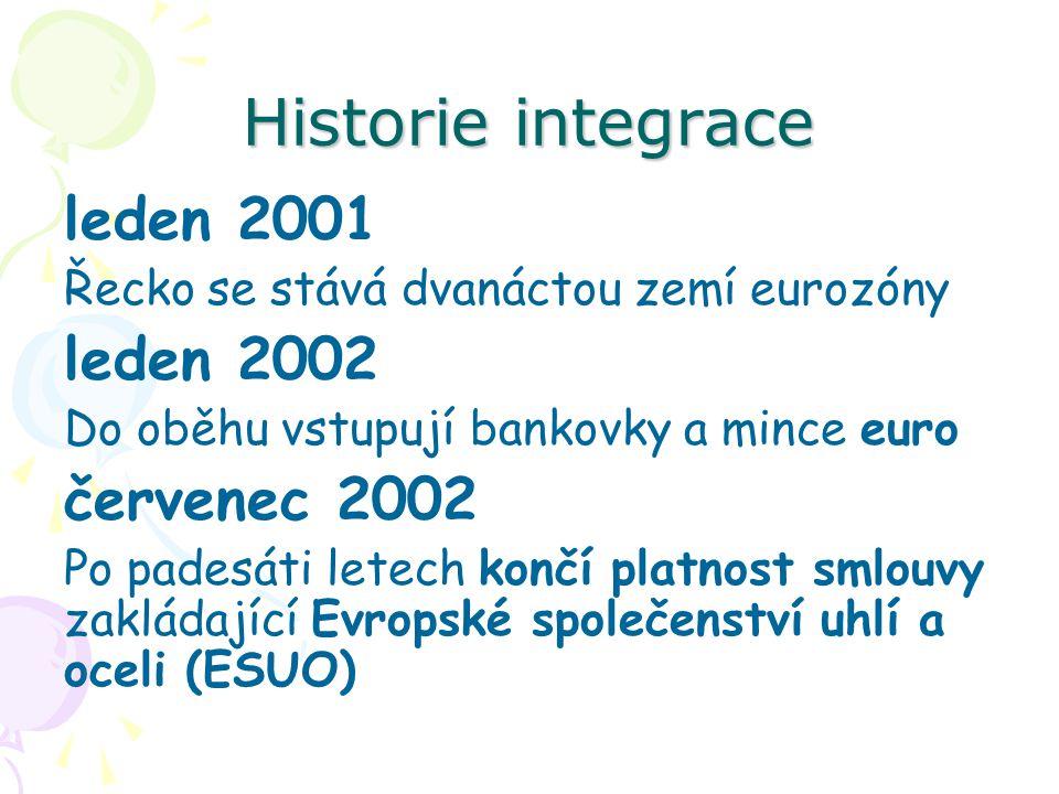 Historie integrace leden 2001 Řecko se stává dvanáctou zemí eurozóny leden 2002 Do oběhu vstupují bankovky a mince euro červenec 2002 Po padesáti letech končí platnost smlouvy zakládající Evropské společenství uhlí a oceli (ESUO)