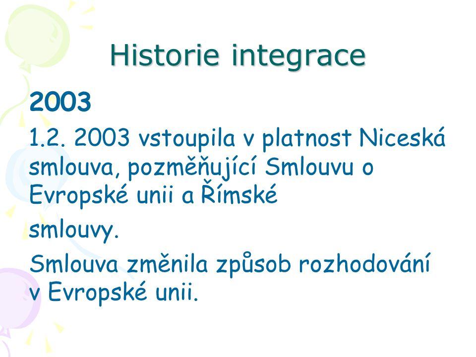 Historie integrace 2003 1.2. 2003 vstoupila v platnost Niceská smlouva, pozměňující Smlouvu o Evropské unii a Římské smlouvy. Smlouva změnila způsob r