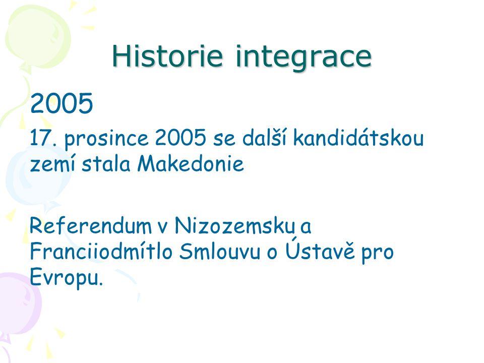Historie integrace 2005 17. prosince 2005 se další kandidátskou zemí stala Makedonie Referendum v Nizozemsku a Franciiodmítlo Smlouvu o Ústavě pro Evr