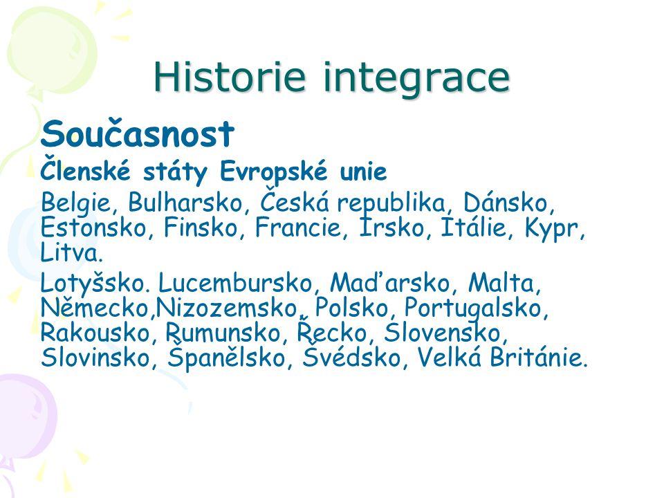 Historie integrace Současnost Členské státy Evropské unie Belgie, Bulharsko, Česká republika, Dánsko, Estonsko, Finsko, Francie, Irsko, Itálie, Kypr,