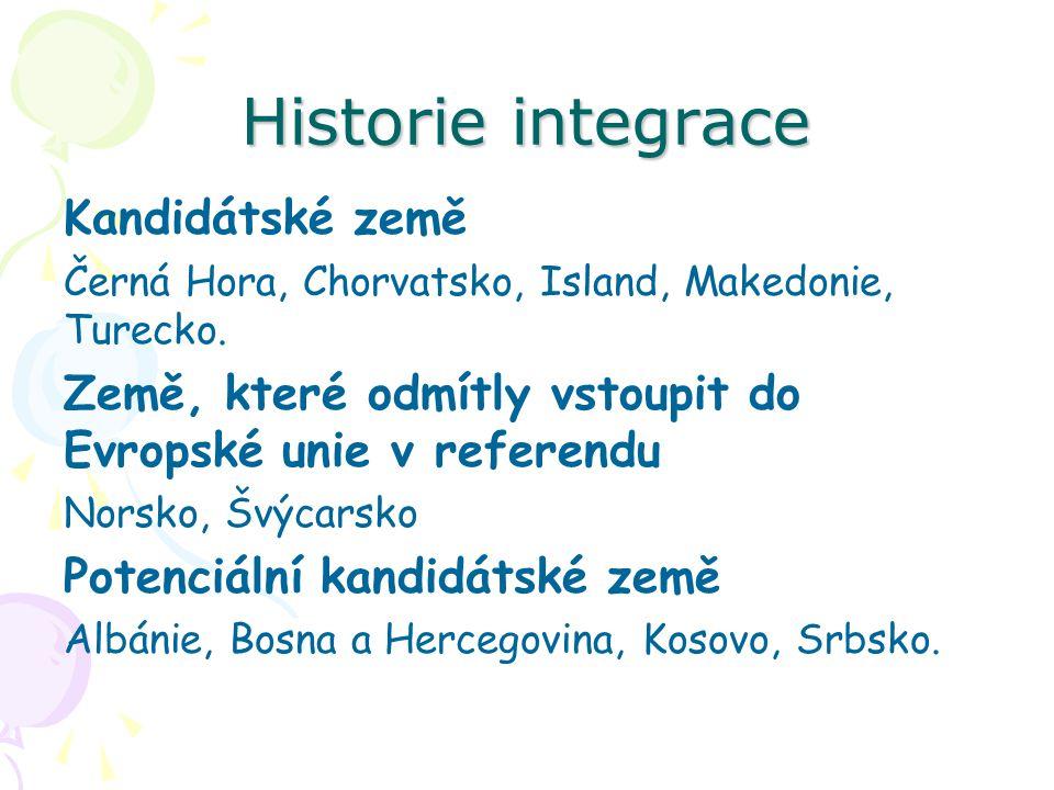 Historie integrace Kandidátské země Černá Hora, Chorvatsko, Island, Makedonie, Turecko. Země, které odmítly vstoupit do Evropské unie v referendu Nors