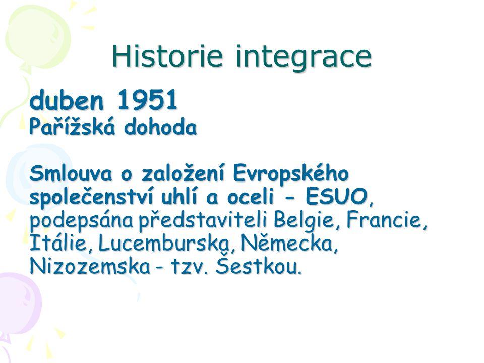 Historie integrace duben 1951 Pařížská dohoda Smlouva o založení Evropského společenství uhlí a oceli - ESUO, podepsána představiteli Belgie, Francie, Itálie, Lucemburska, Německa, Nizozemska - tzv.