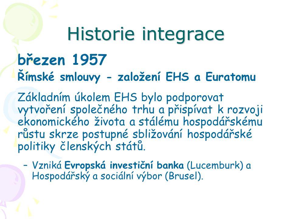 Historie integrace březen 1957 Římské smlouvy - založení EHS a Euratomu Základním úkolem EHS bylo podporovat vytvoření společného trhu a přispívat k r