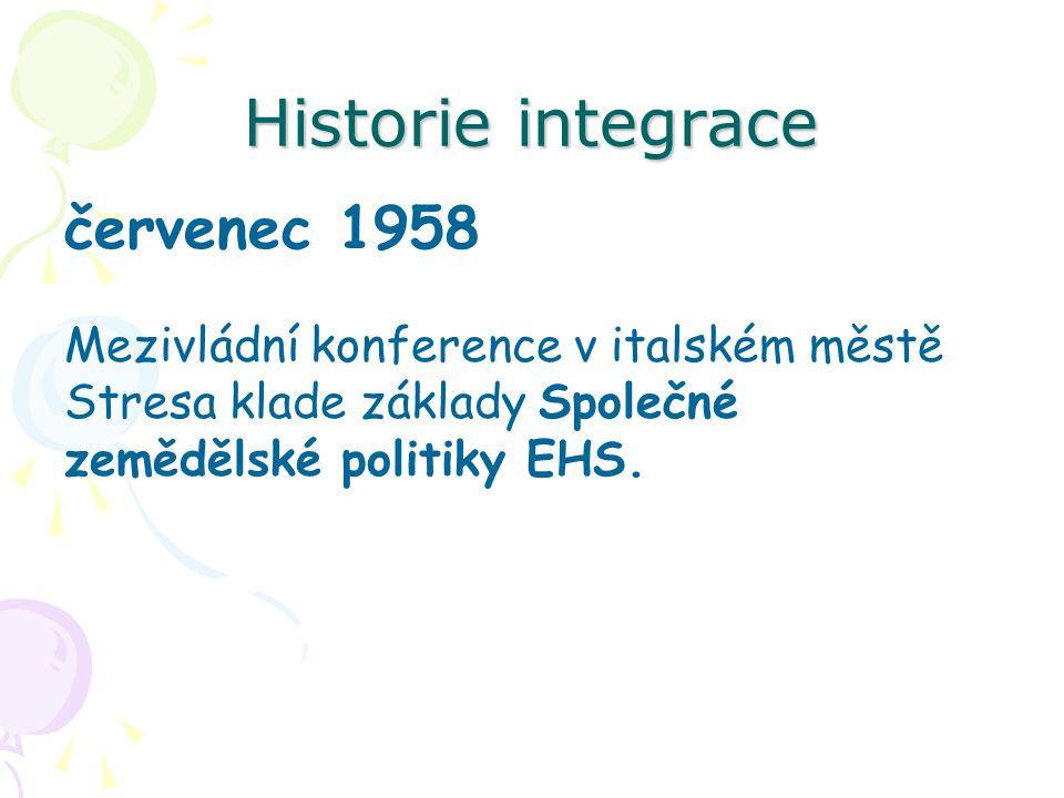 Historie integrace leden 1960 Stockholmská úmluva založení Evropského sdružení volného obchodu (ESVO), známé také jako EFTA - European Free Trade Association, nabývá účinnosti.