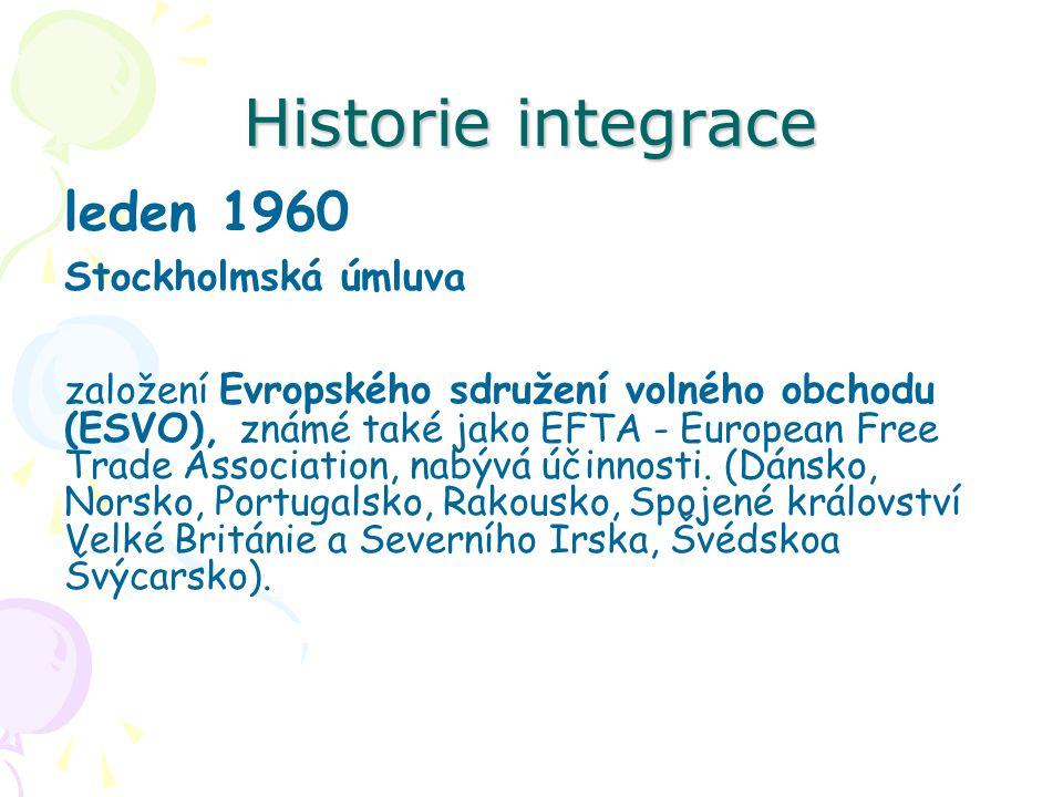 Historie integrace leden 1960 Stockholmská úmluva založení Evropského sdružení volného obchodu (ESVO), známé také jako EFTA - European Free Trade Asso