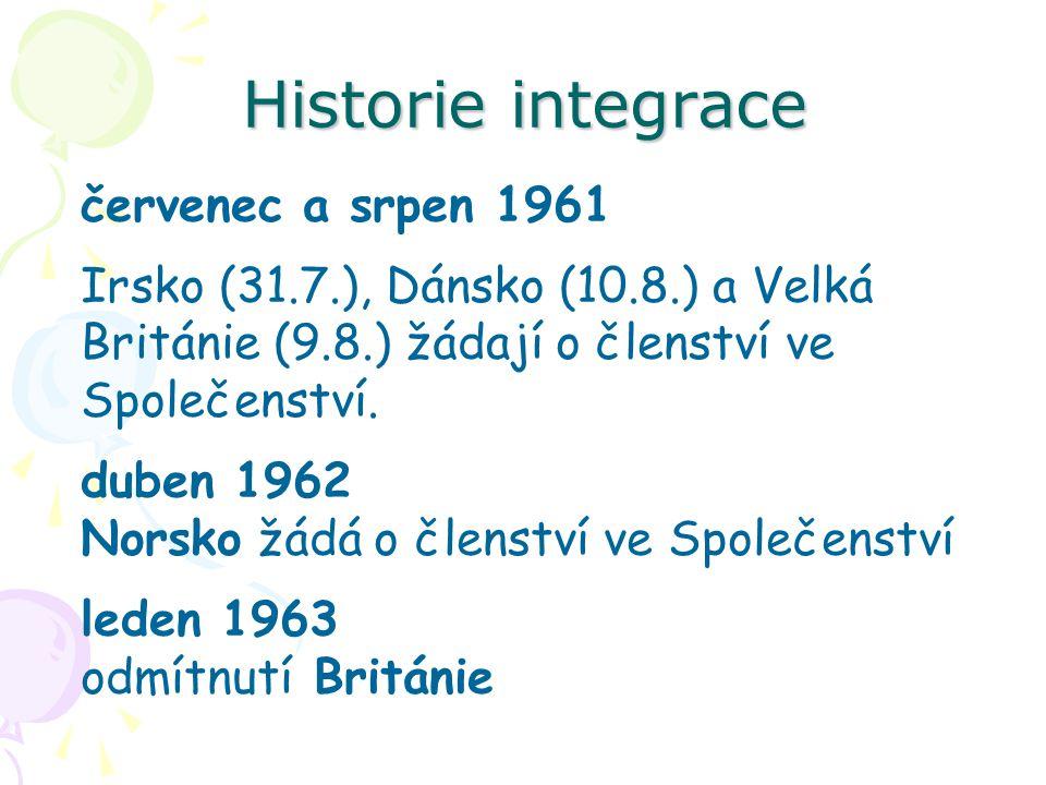 Historie integrace červenec a srpen 1961 Irsko (31.7.), Dánsko (10.8.) a Velká Británie (9.8.) žádají o členství ve Společenství. duben 1962 Norsko žá