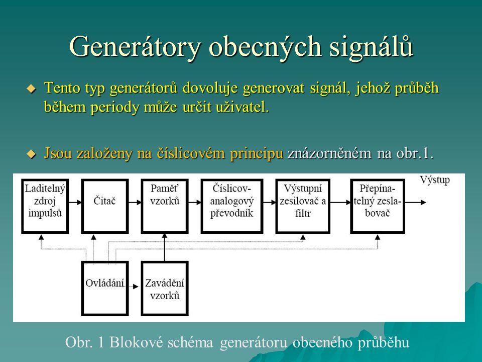 Generátory obecných signálů  Tento typ generátorů dovoluje generovat signál, jehož průběh během periody může určit uživatel.