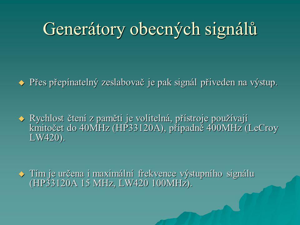 Generátory obecných signálů  Přes přepínatelný zeslabovač je pak signál přiveden na výstup.  Rychlost čtení z paměti je volitelná, přístroje používa
