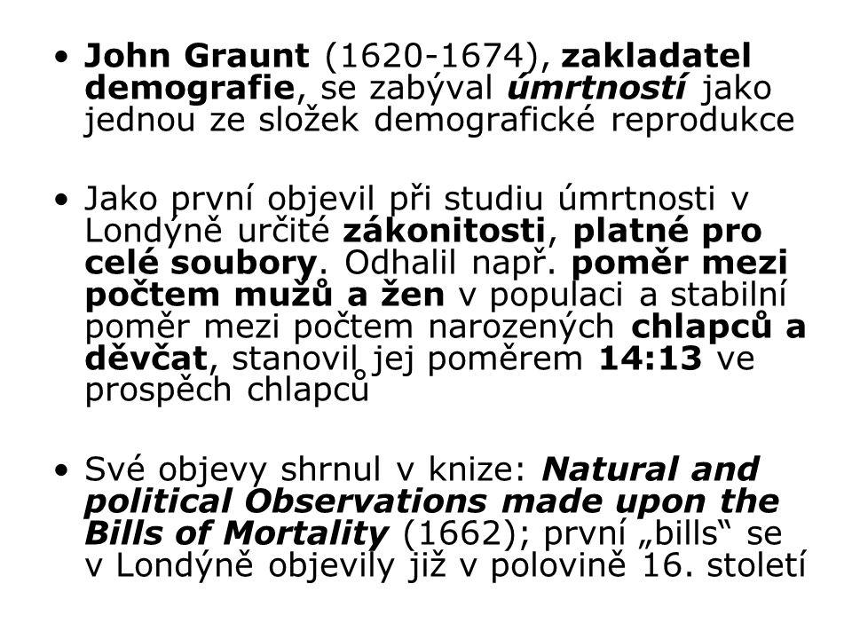 John Graunt (1620-1674), zakladatel demografie, se zabýval úmrtností jako jednou ze složek demografické reprodukce Jako první objevil při studiu úmrtn