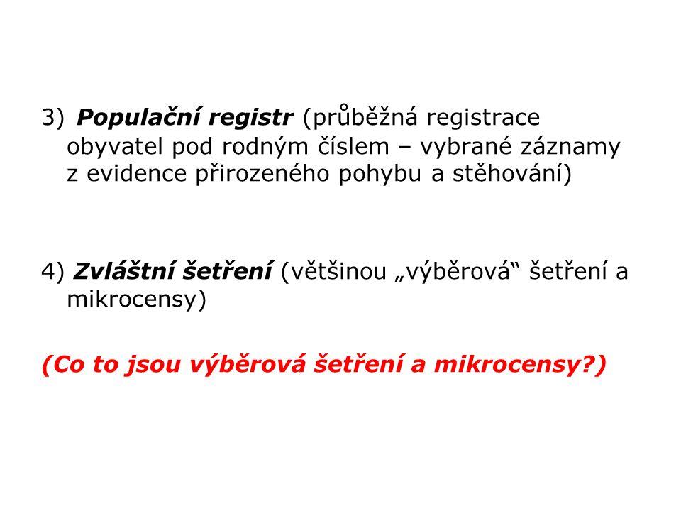 3) Populační registr (průběžná registrace obyvatel pod rodným číslem – vybrané záznamy z evidence přirozeného pohybu a stěhování) 4) Zvláštní šetření
