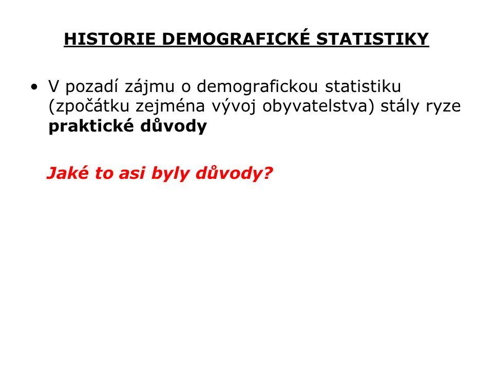 HISTORIE DEMOGRAFICKÉ STATISTIKY V pozadí zájmu o demografickou statistiku (zpočátku zejména vývoj obyvatelstva) stály ryze praktické důvody Jaké to a