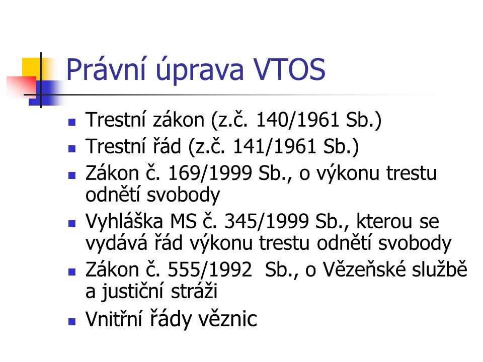 Právní úprava VTOS Trestní zákon (z.č. 140/1961 Sb.) Trestní řád (z.č. 141/1961 Sb.) Zákon č. 169/1999 Sb., o výkonu trestu odnětí svobody Vyhláška MS