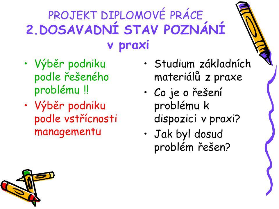 PROJEKT DIPLOMOVÉ PRÁCE 2.DOSAVADNÍ STAV POZNÁNÍ v praxi Výběr podniku podle řešeného problému !.