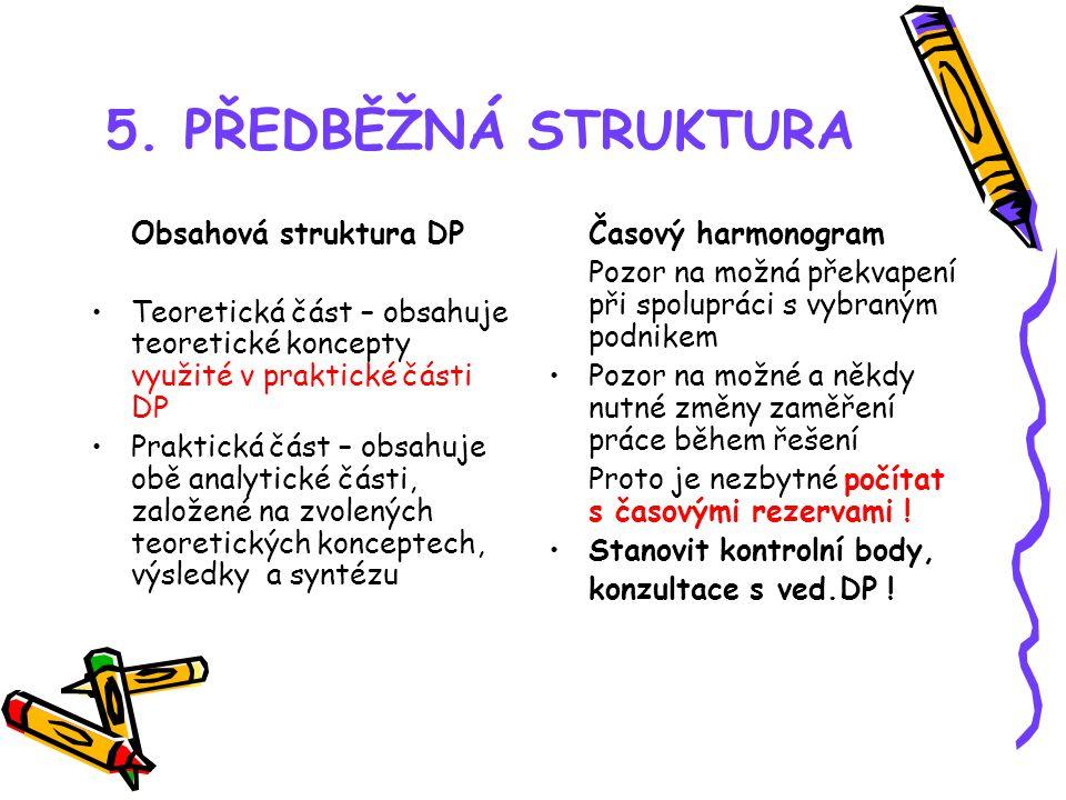5. PŘEDBĚŽNÁ STRUKTURA Obsahová struktura DP Teoretická část – obsahuje teoretické koncepty využité v praktické části DP Praktická část – obsahuje obě
