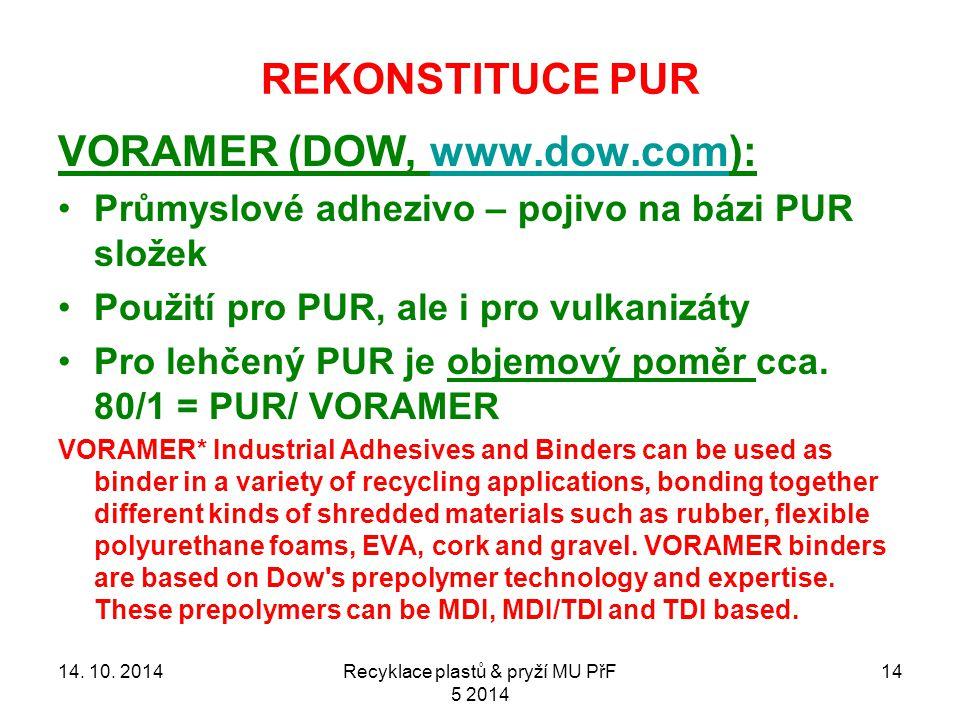 REKONSTITUCE PUR 14 VORAMER (DOW, www.dow.com):www.dow.com Průmyslové adhezivo – pojivo na bázi PUR složek Použití pro PUR, ale i pro vulkanizáty Pro lehčený PUR je objemový poměr cca.