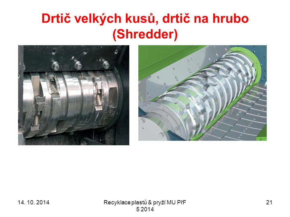 Drtič velkých kusů, drtič na hrubo (Shredder) 2114. 10. 2014Recyklace plastů & pryží MU PřF 5 2014